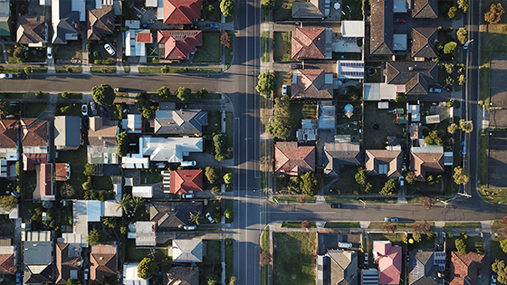 Vista aérea de un vecindario